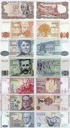 Post Franco Spanish currency in print.  Pesetas.