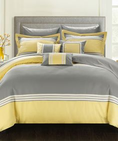 Look at this Yellow & Gray 10-Piece Comforter Set on #zulily today!