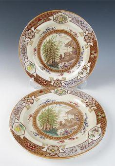 PAIR Antique AESTHETIC POLYCHROME Transferware DINNER PLATES Furnival MIKADO