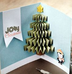 Pop-up Christmas tree card with penguin and banner. Too cute. Interchange penguin for snowman to use with snowman cards