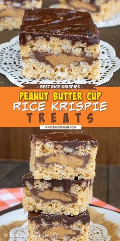 Peanut Butter Cup Rice Krispie Treats - a hidden layer of candy bars adds a fun twist to the classic rice krispie treats. Make this no bake recipe for picnics and parties and watch everyone smile!