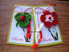 martisor floricica si trifoi cu gargarita -3 lei buc       palariuta -5 lei bucata Diy And Crafts, Crafts For Kids, Arts And Crafts, Japanese Ornaments, International Craft, Crochet Bookmarks, Christmas Tree Crafts, Class Decoration, Newborn Crochet