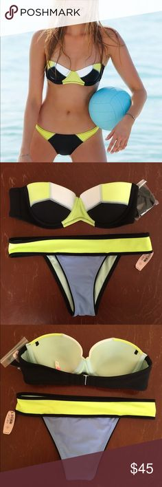 Victoria's Secret 34B Bikini Bandeau Push-up This is a never worn, new with tags Victoria's Secret bikini set. Top is The Flirt Bandeau with molded push-up padding, size 34B. A super cute tri-color combination of black, neon green and white help make this piece a head-turner. Bottom is a size small tri-color scheme of neon-green, black and a light blue. The Victoria's Secret bikini line is ending so get yours while you can!! Offers are always welcomed  Victoria's Secret Swim Bikinis