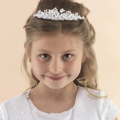 Communion Hairtyle - Half up half down with floral tiara