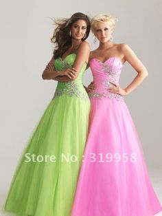 Custom 2013 Pink Lime Green Sweetheart Corset A line Organza Beads Long NEW Prom Evening Formal Dresses Party Dress Gown Gowns-in Prom Dresses from Apparel & Accessories on Aliexpress.com