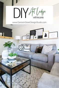 DIY Art Ledge | ©GarrisonStreetDesignStudio | DIY | Art | Ledge | Picture | Extra Long | Extra Large | Easy | Tutorial | How to | Build | Ideas | Styling | Display | Design | Layout | Above Couch | Above Sofa | 8 Ft | Photo Ledge Shelf | Picture Shelves | Wood | Wooden | Modern | Rustic | Farmhouse | Beetle Kill Pine | Simple | Art | Free | Prints | Printables | 8x10 | 24x36 | Black & White | Oversized | Filled with Art | Cheap | Affordable | Wall | Shelf | Gallery | Floating | Decor Sofa Shelf, Shelves Above Couch, Ledge Shelf, Long Floating Shelves, Floating Shelf Decor, Photo Ledge, Picture Ledge, Decor Above Sofa, Wooden Couch
