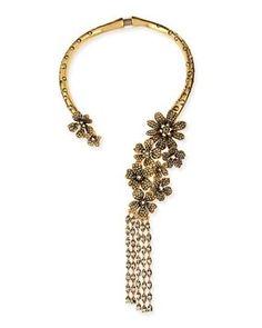 Oscar de la Renta  Metallic Floral Collar Necklace. Get the lowest price on Oscar de la Renta  Metallic Floral Collar Necklace and other fabulous designer clothing and accessories! Shop Tradesy now