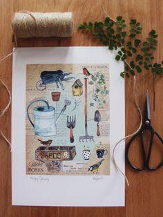 Happy Growing Art Print from Rachel Grant Illustration on Etsy. #gardenart