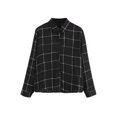 SheIn(sheinside) Black Plaid Buttons Shirt (98 GTQ) ❤ liked on Polyvore featuring tops, shirts, black, long sleeve shirts, tartan shirt, collar top, long sleeve tops and long sleeve polyester shirt