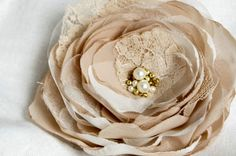 Beige flower  brooch and hair clip 2 in 1  by floraljewellery, $19.00