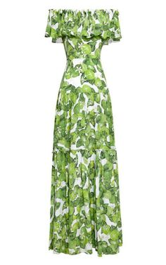 Lime-Print Silk Dress by Isolda Now Available on Moda Operandi