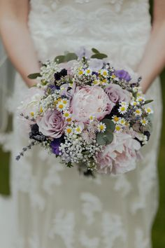 Purple Wild Flower Wedding Bouquet | Townfield Barn Wedding Venue | Vintage Tea Theme | Maggie Sottero Lace Gown | Tweed Suits | Antique Books | Mike & Tom Photography | http://www.rockmywedding.co.uk/charlotte-toby/