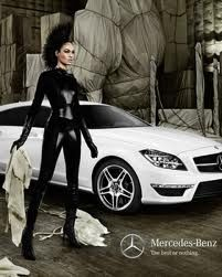 #Mercedes-Benz trying to get younger buyers and women going #Goth glam with a #Deathhawk, latex wearing hottie.