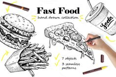 Fast Food Sketch Collection by Epine on @creativemarket