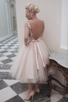 House of Mooshki tea length blush tulle wedding dress | see more on: http://burnettsboards.com/2014/04/house-mooshki/