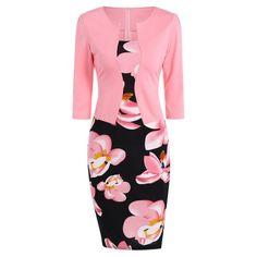 Floral Jacket Look Pencil Dress - Pink