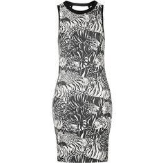 TopShop Tiger Print Mini Dress ($37) ❤ liked on Polyvore featuring dresses, multi, mini dress, short dresses, tiger print dress and tiger stripe dress