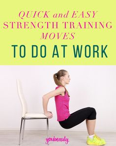 For anyone who has a desk job, its inevitable youll be spending most of your day right there. Here are strength training exercises that require only your chair. Chair Exercises, Training Exercises, Strength Training Workouts, Desk Workout, Workout Ideas, Fitness Tips, Health Fitness, Ways To Be Healthier, Health Promotion