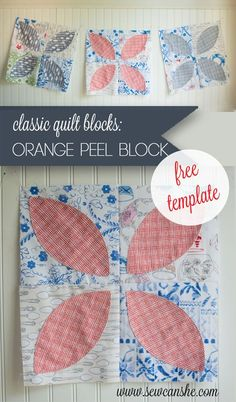 orange-peel-block - good idea about using iron on interfacing for applique, also using pinking shears to trim the inside of the applique