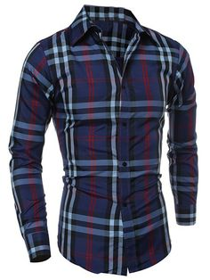 $6.30 Classic Color Block Plaid Print Multi-Button Slimming Shirt Collar Long Sleeves Shirt For Men
