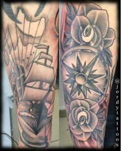Neo traditional, ships, tattoo, black and grey, detail