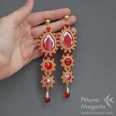 Items similar to Long earrings swarovski earrings red earrings big earrings chic earrings beaded earrings beadwork earrings beadwoven earrings bead earrings on Etsy Red Earrings, Seed Bead Earrings, Beaded Earrings, Etsy Earrings, Seed Beads, Swarovski Crystal Earrings, Swarovski Pearls, Crystal Necklace, Red Gold Turquoise
