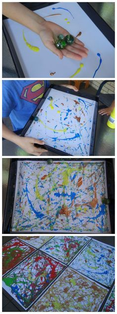 Fun activity for kids marble painting click Projects For Kids, Diy For Kids, Art Projects, Crafts For Kids, Kids Fun, Fun Activities For Kids, Art Activities, Therapy Activities, Marble Painting