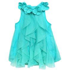 FEESHOW Baby Girls' One Piece Ruffle Sleeveless Summer Romper Flower Dress Blue 6-9 Months