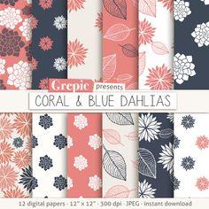 Dahlias digital paper: CORAL & BLUE DAHLIAS clip