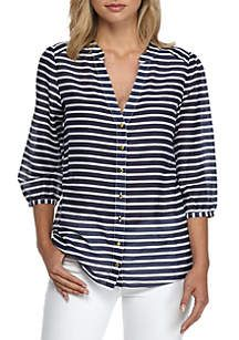 Sail to Sable Stripe Blouse Gilet Long, Matching Couple Shirts, Pantalon Large, Nautical Fashion, Fashion Tips For Women, Corsage, Shirt Blouses, Blouse Designs, Blouses For Women