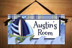 Little Sail Boat Nautical Sailing Boys Bedroom Baby Nursery DOOR SIGN Wall Art. $14.00, via Etsy.