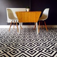 Stylish wall stickers, bold wallpaper murals, retro vinyl flooring-So that floor just stole my girlish heart...