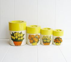 Canisters 4 Piece Mid Century Yellow Flower by BargeCanalMarket, $26.00
