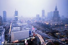 Downtown Warsaw, Poland, on a rainy day in March. A Days March, Warsaw Poland, Cityscapes, Rainy Days, New York Skyline, Projects, Travel, Log Projects, Blue Prints