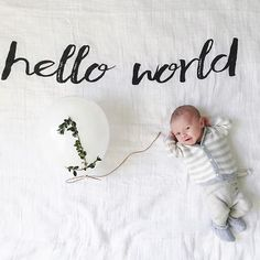 Hello World, Oliver is 1 month old! DARLING photo featuring our Modern Burlap Swaddle Blanket via @bethanympoteet ☁️