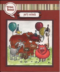 Party Animals - birthday for male, front - Stampin' Connection