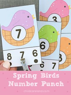 Spring Birds Number Punch Early Learning Activities, Classroom Activities, Calendar Numbers, Spring Birds, Alphabet Cards, Pre Writing, Letter Recognition, Paper Clip, White Patterns
