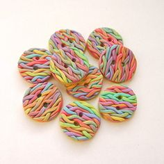 knitted fimo buttons [Folksy: carols crafts]
