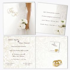"""Partecipazioni di matrimonio """"Rose Bianche"""" - set"""