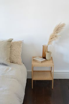 , above nightstand bedside tables Rattan Nachttisch IKEA Hack, Bedside Table Styling, Bedside Table Decor, Bedside Table Inspiration, Console Table, Bedside Table Design, Ikea Furniture, Bedroom Furniture, Cane Furniture, Bamboo Furniture