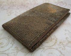 Brown Bead Bag, 1970s, bronze clutch bag, Vintage beaded purse, brown bead handbag, evening bag, formal bead bag, metallic bead - pinned by pin4etsy.com $35.00