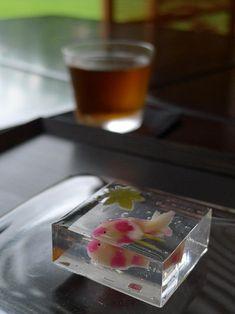 日本人のおやつ♫(^ω^)(夏向き) Japanese sweets, Wagashi 涼しげな金魚ゼリー寒天寄せ