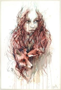 Fragments - Exhibition of drawings in Ink and Tea by Carne Griffiths, via Behance