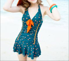 Blue Dots Stretch Soft Swimsuit Slim Short V Neck by LaLaClassics, $36,00