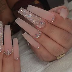 Bling Acrylic Nails, Aycrlic Nails, Summer Acrylic Nails, Best Acrylic Nails, Bling Nails, Summer Nails, Pastel Nails, Bling Nail Art, Rhinestone Nails