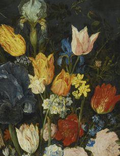 Jan Brueghel the Elder BRUSSELS 1568 - 1625 ANTWERP STILL LIFE OF FLOWERS IN A STONEWARE VASE