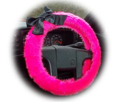 Barbie Pink steering wheel cover faux furry fur fuzzy fluffy car Black satin Bow van truck suv jeep girly girl cute cerise woman lady fun