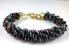 Bracelets For Ladies  :    Czech Lentil Beaded Kumihimo Bracelet – Rainbow Colors – Mardi Gras – Marea Peacock  - #Bracelets https://talkfashion.net/acceseroris/bracelets/bracelets-for-ladies-czech-lentil-beaded-kumihimo-bracelet-rainbow-colors-mardi-gras-marea-peac/