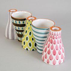 Stig Lindberg Pottery Painting, Ceramic Painting, Ceramic Art, Scandinavian Pattern, Scandinavian Design, Vintage Vases, Vintage Pottery, Porcelain Ceramics, Ceramic Pottery
