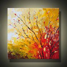 PAISAJE pintura arte abstracto de 12 x 12 árbol de otoño